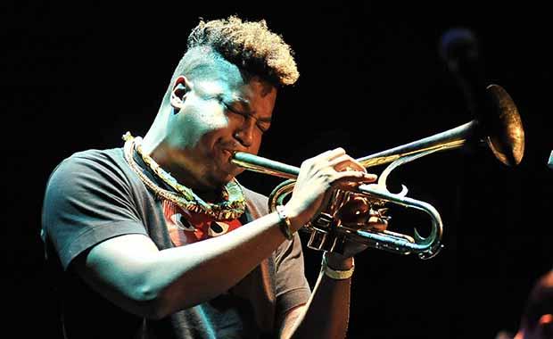 El trompetista Christian Scott en el Festival de Jazz de Granada.